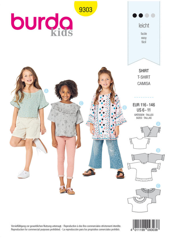 burda kids Nr. 9303 Shirt Gr. 116 - 146